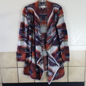 Lucky Brand long patterned cardigan sweater Size S